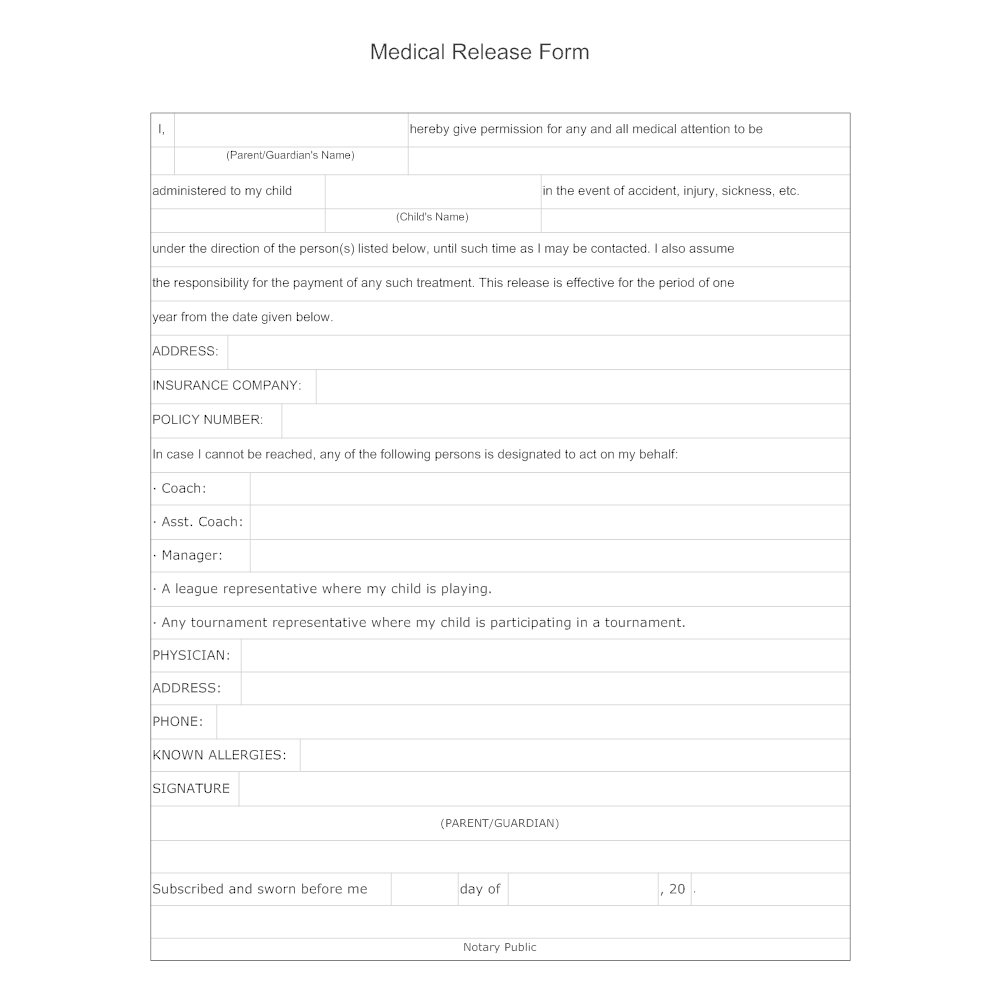 release form example Medical Release Form