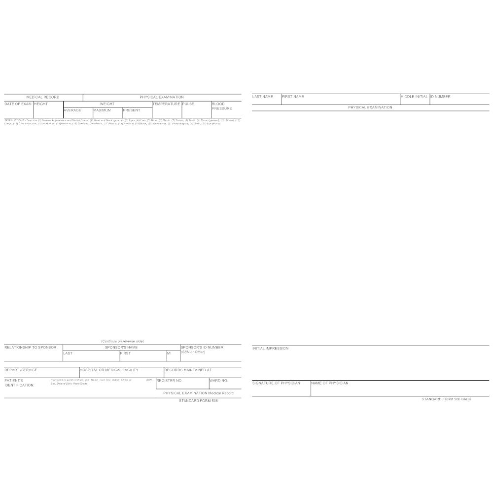 medical physical examination forms