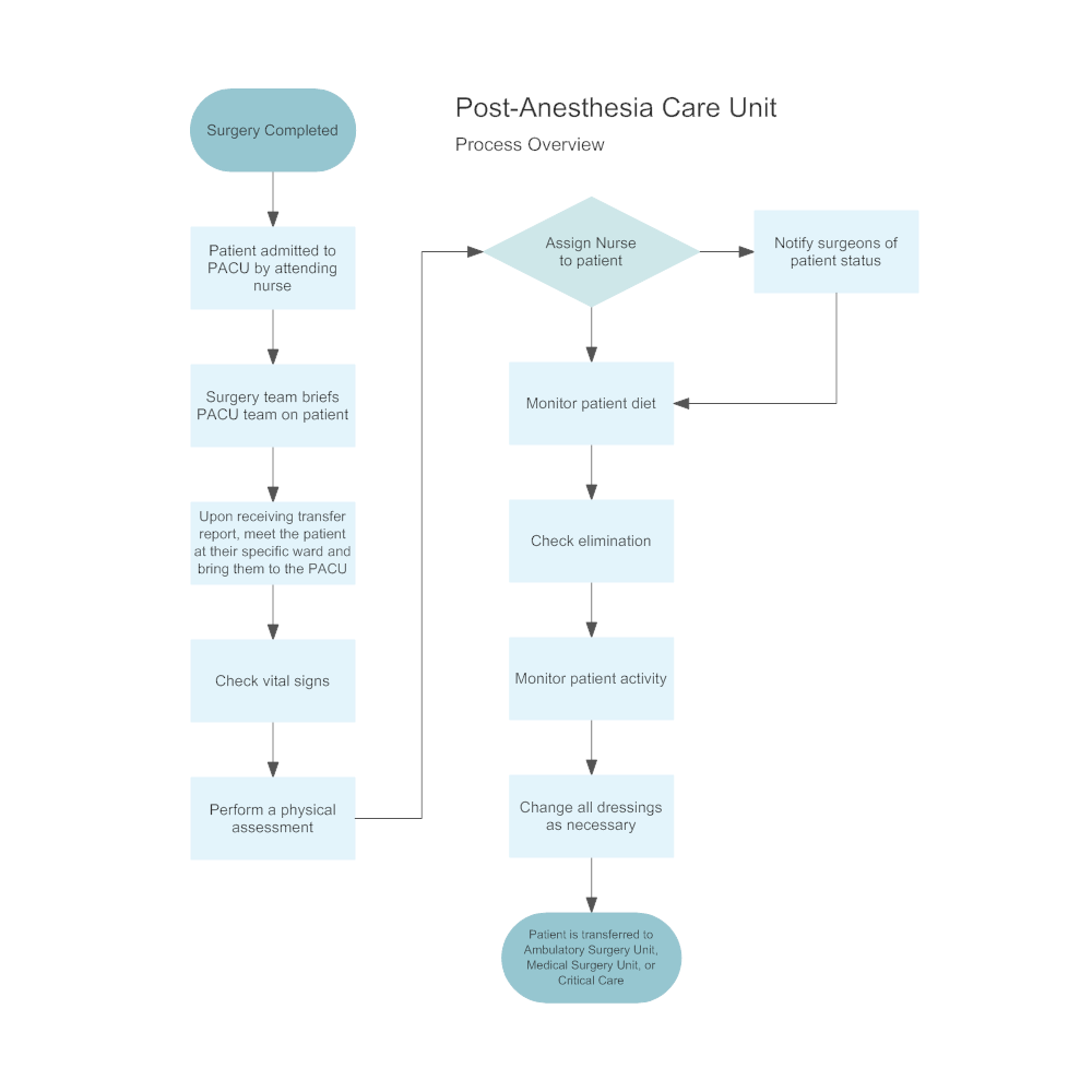 Example Image: Post-Anesthesia Care Unit Flowchart