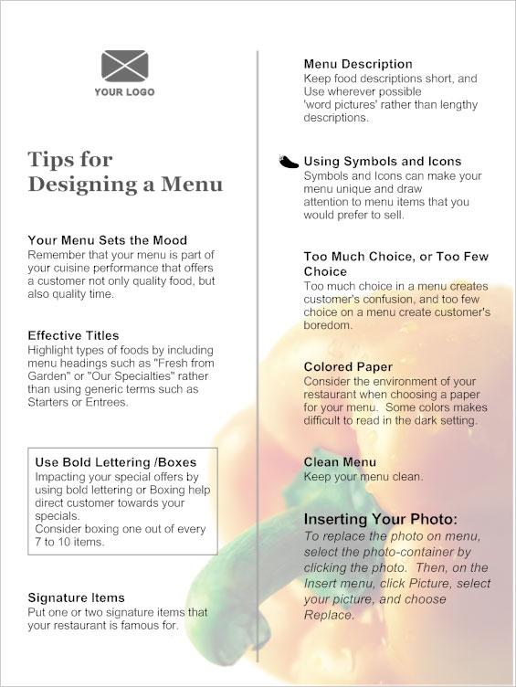 sample menus for restaurants