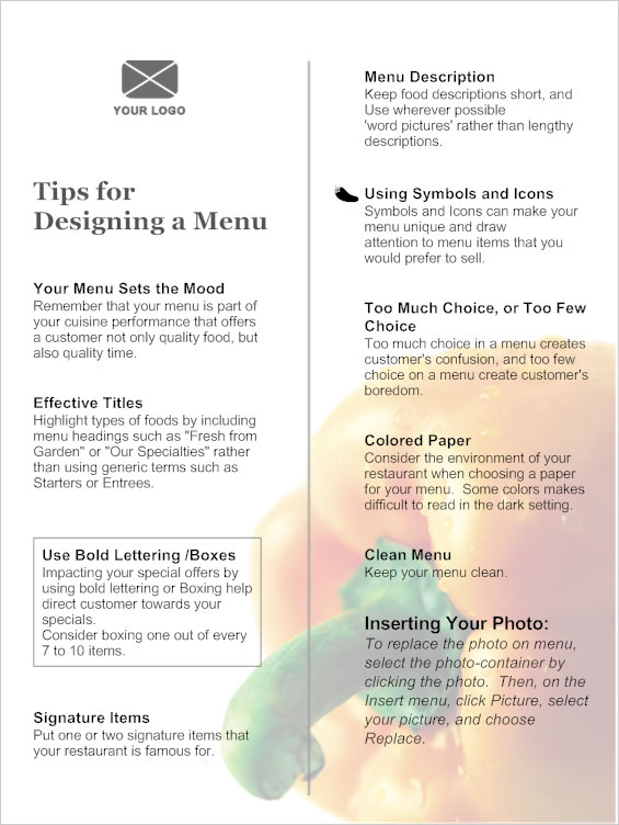 restaurant menu word template