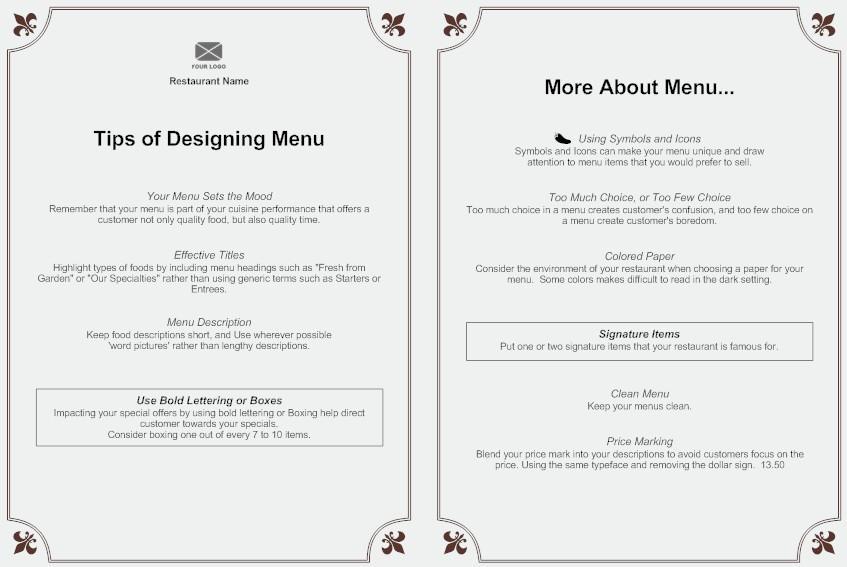 Menu creating an effective menu design see examples a multi course meal or table dhote menu allows the patron to choose from a pre established sequence of courses menu example altavistaventures Gallery