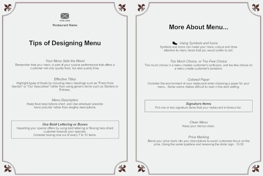 Menu Creating an Effective Menu Design – A La Carte Menu Template