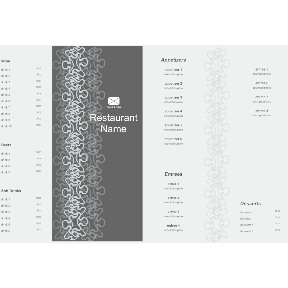 Example Image: Bi-fold Menu Template