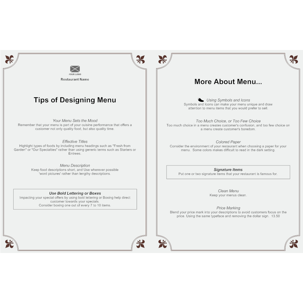 menu templet