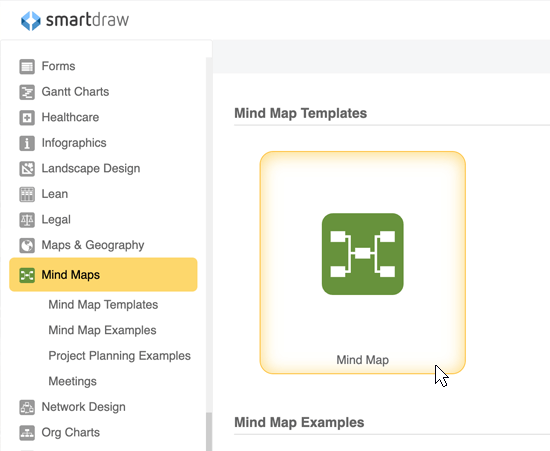 Start with a mind map template