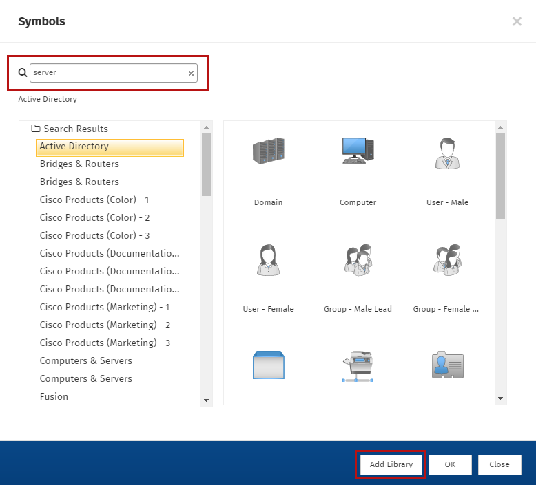 Search the symbols library for network diagram symbols