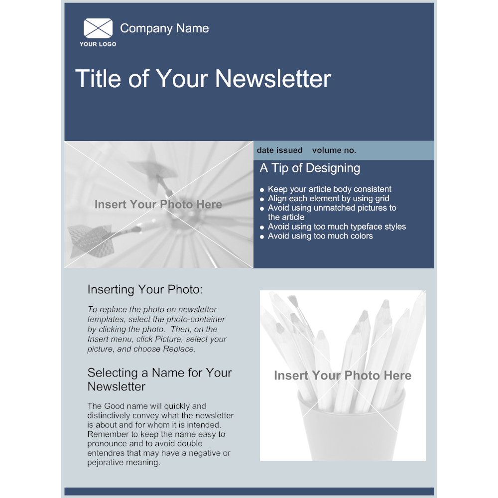 Company newsletter template for Brochure insert template