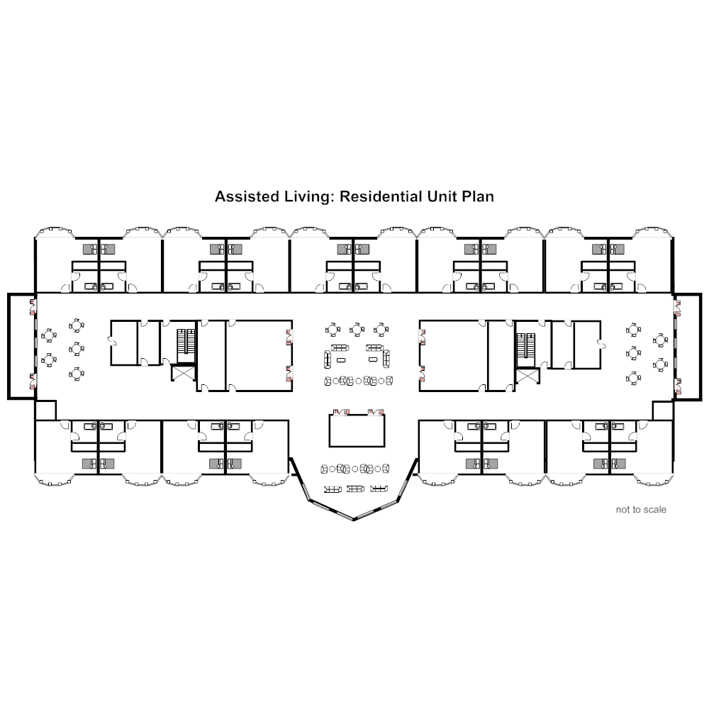 Assisted living residential unit plan for Retirement home floor plans