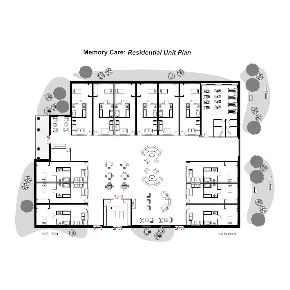 Residential nursing home unit plan for Group home floor plans