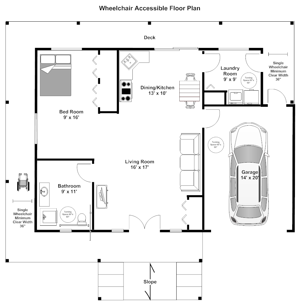 Wheelchair accessible floor plan for Accessible home design