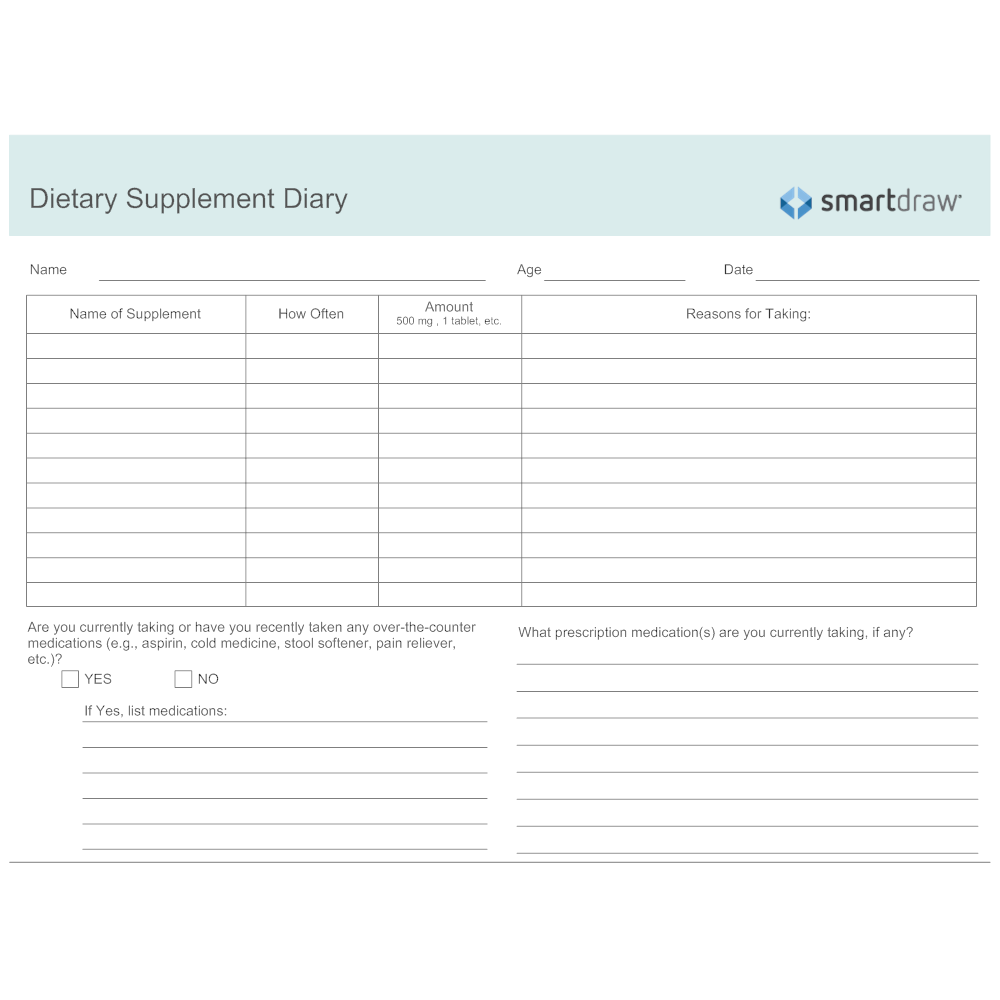 Example Image: Dietary Supplement Diary