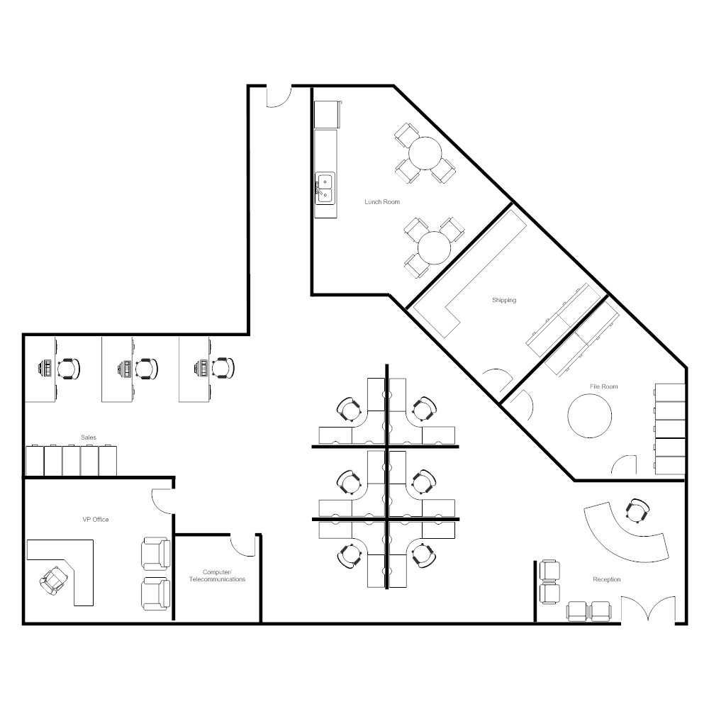 Cubicle floor plan for Blueprint drawing program