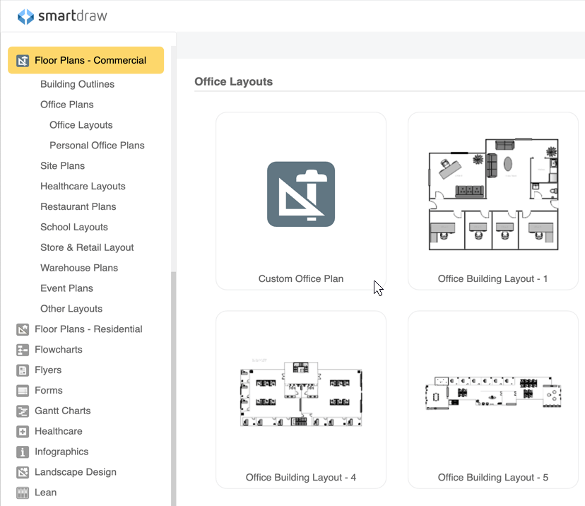 The office floor plan Office Space Office Plan Templates Symbol Library Smartdraw Office Layout Planner Free Online App Download