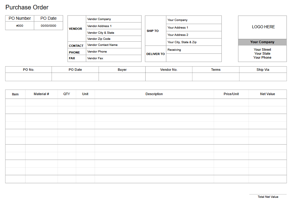 Purchase order form software
