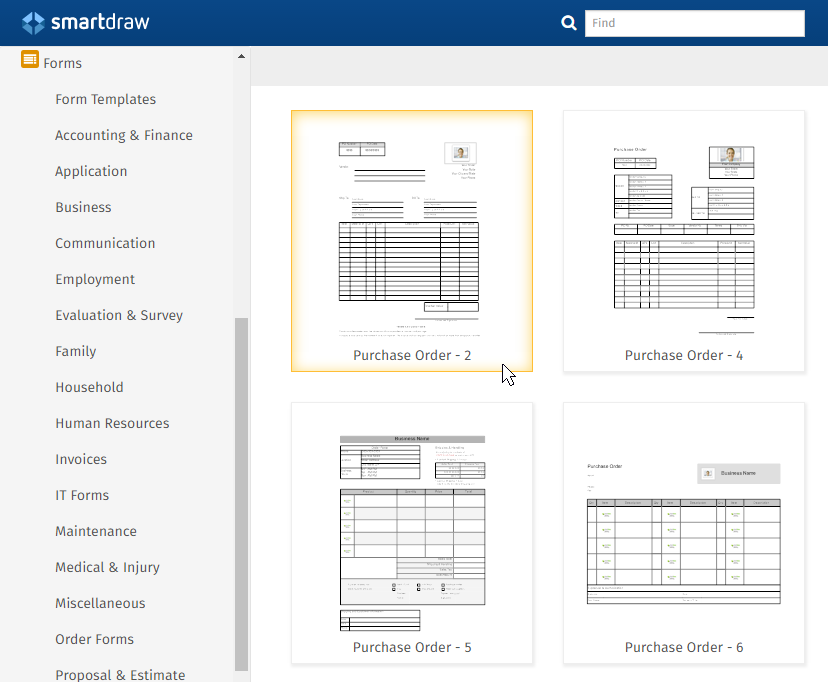 Purchase Order Form Software Free Form Templates from SmartDraw – Purchase Order Form Template