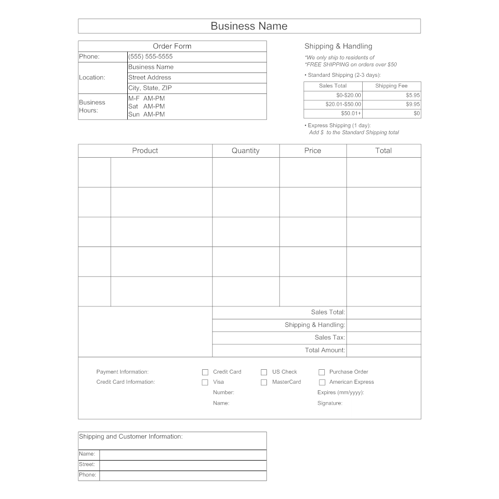 SmartDraw  Purchase Order Form Example