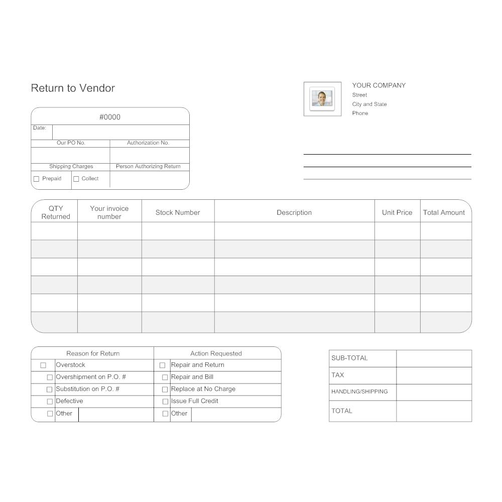 Example Image: Return to Vendor Form