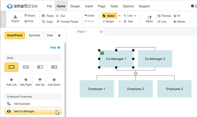 Add org chart co-manager