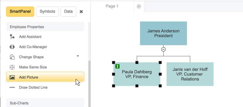 Add pictures to your org chart
