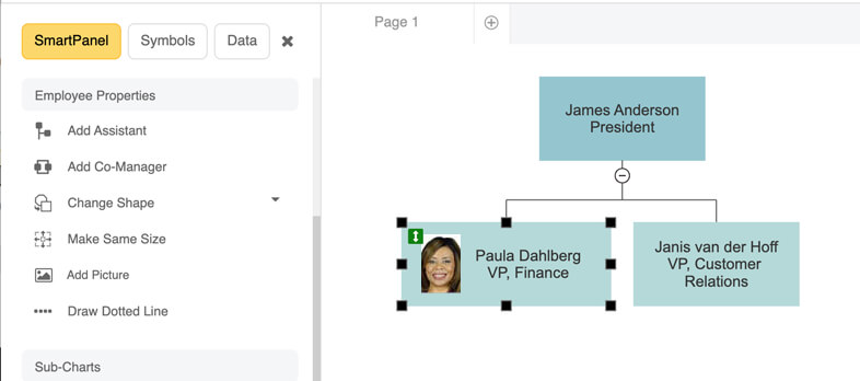 Browse for org chart photo