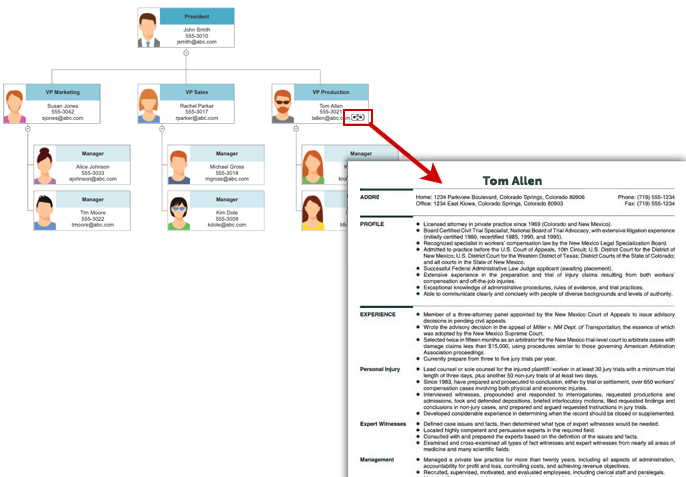 Org chart linked to resume
