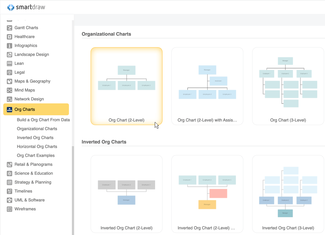 Online Organizational Charts Make Org Charts With Smartdraws Web App
