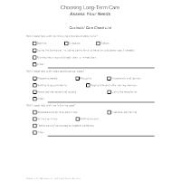 Choosing Long-Term Care - Assess Your Needs