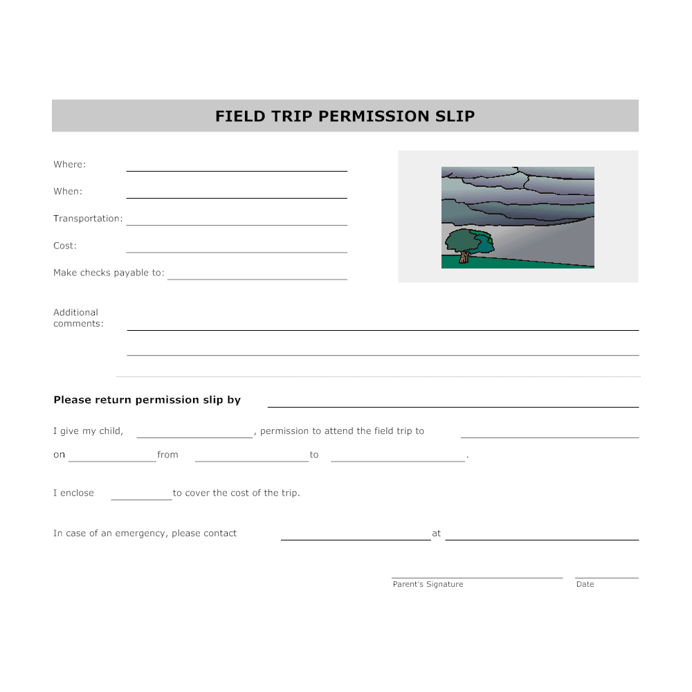 Example Image: Field Trip Permission Form