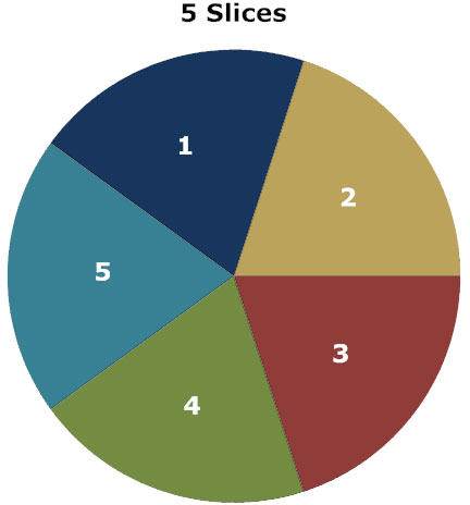 Five slices of pie chart