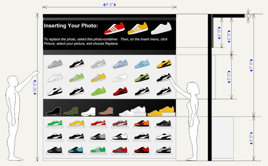 Shoe store planogram example