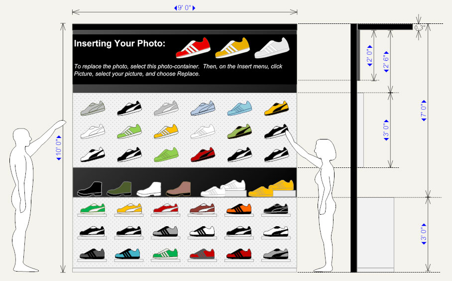Shoe store planogram example
