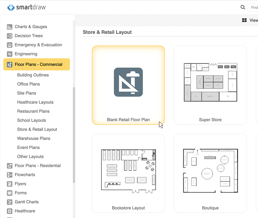 Store layout templates