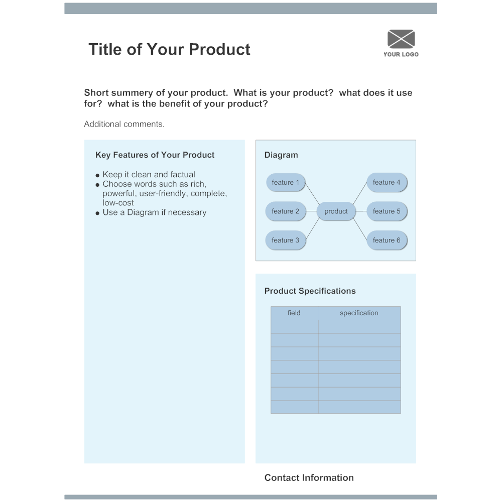 product sheet template