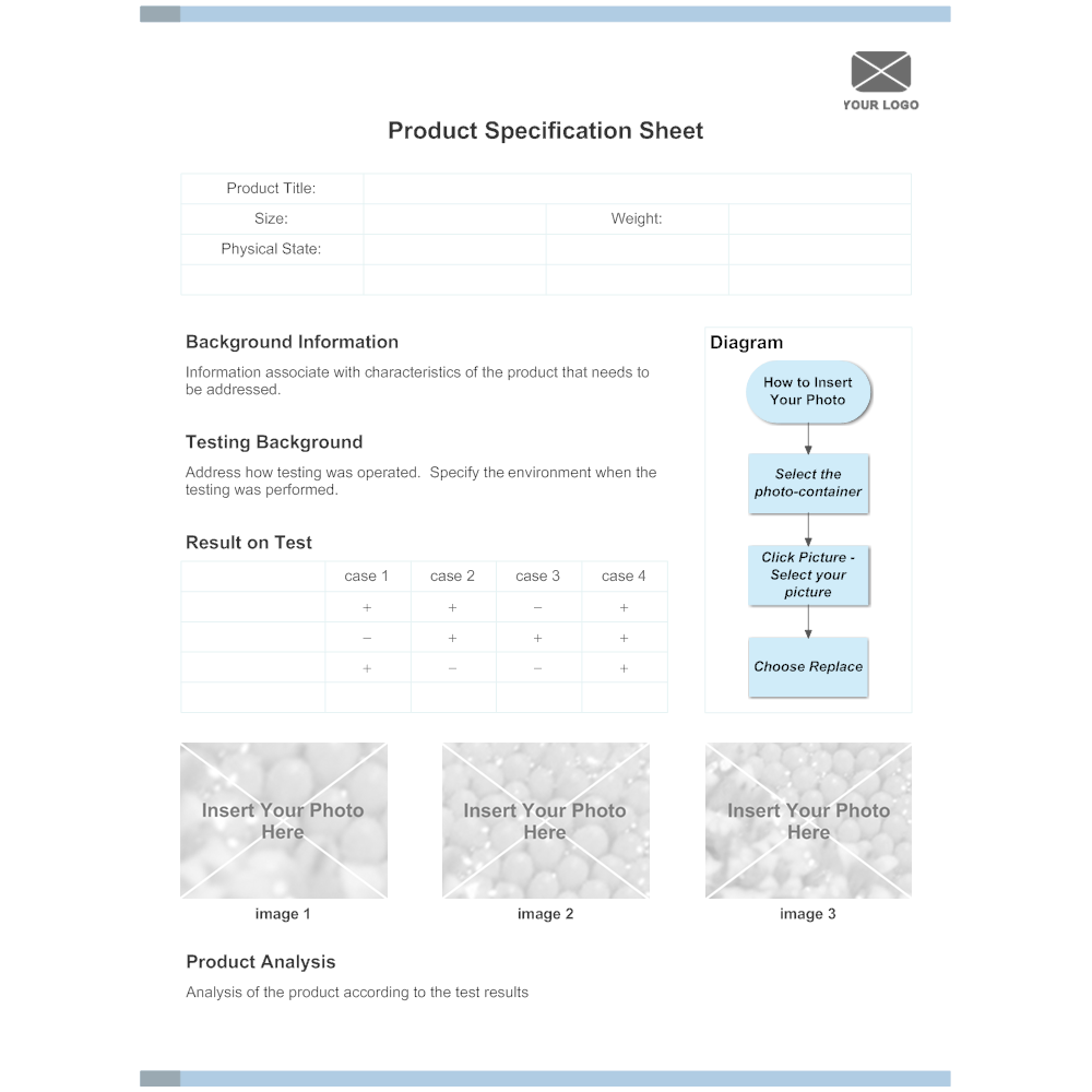 Example Image: Product Specification Sheet Example