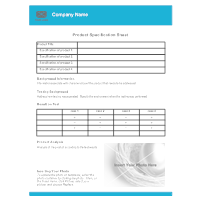 product spec sheet template