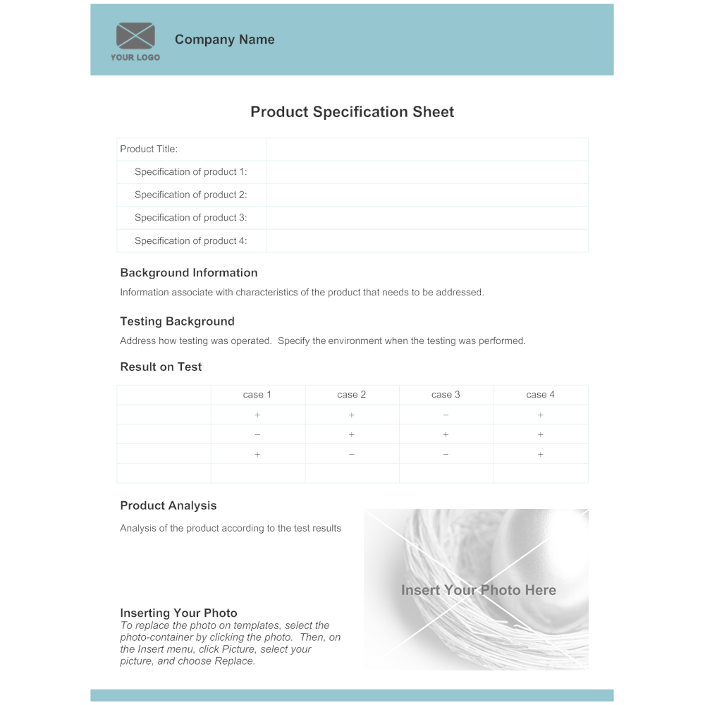 Product Specification Sheet Template