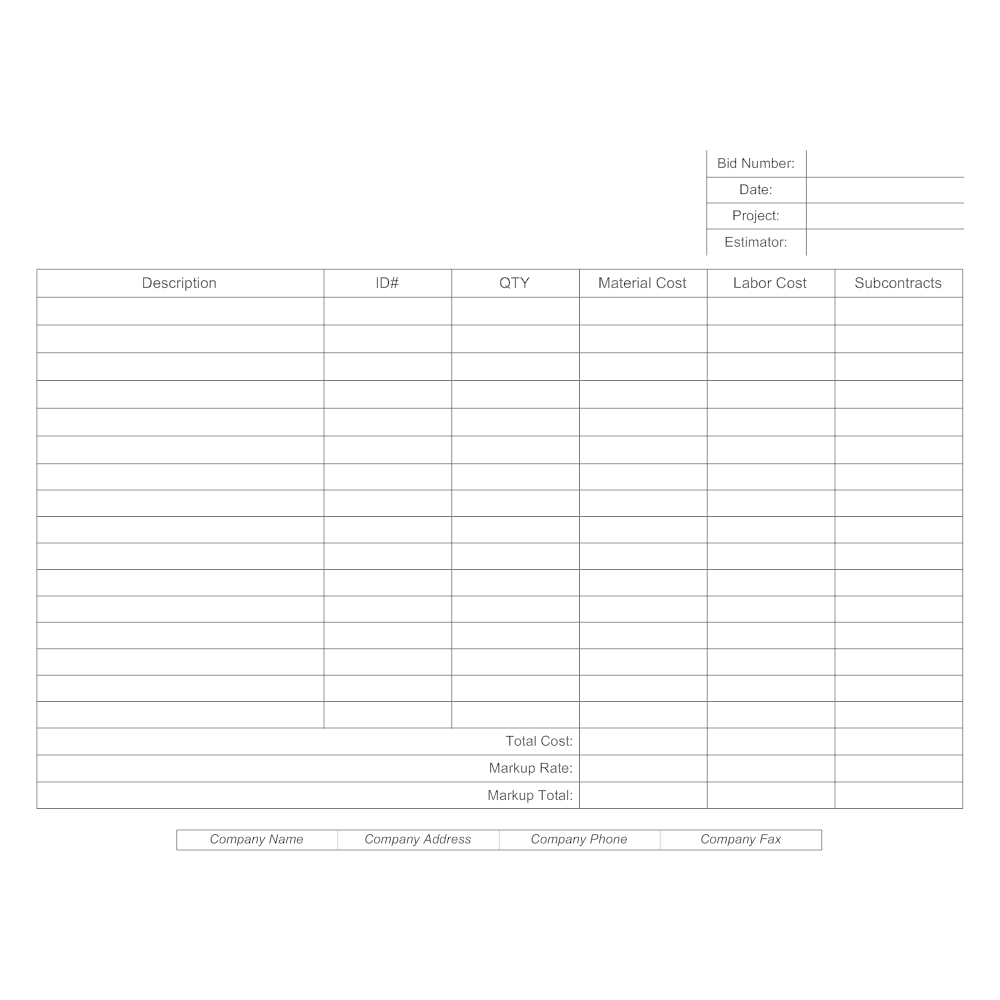 bid estimate form