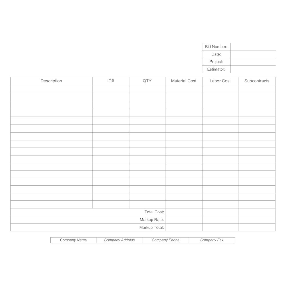 Example Image: Bid Estimate Form