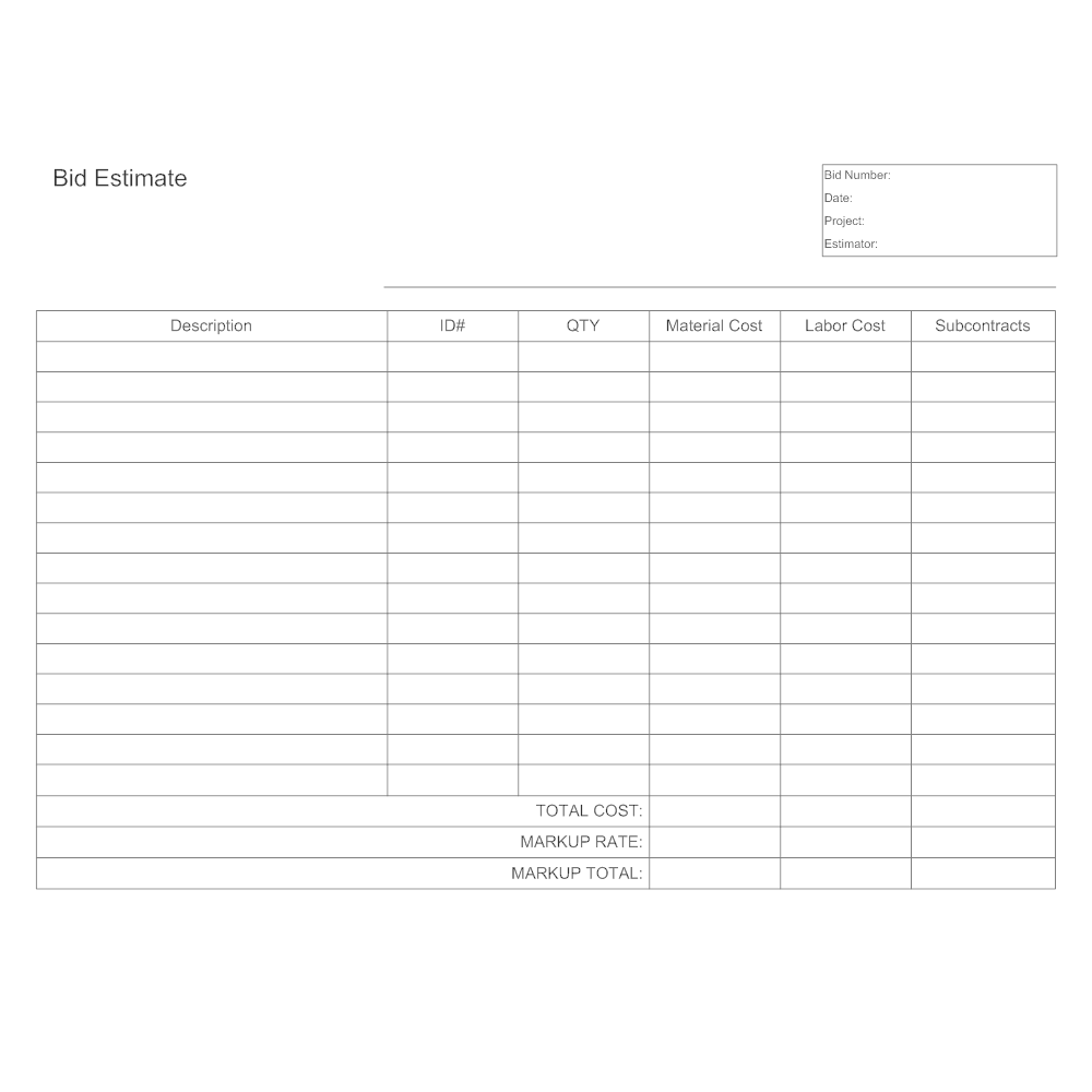 bid estimate template