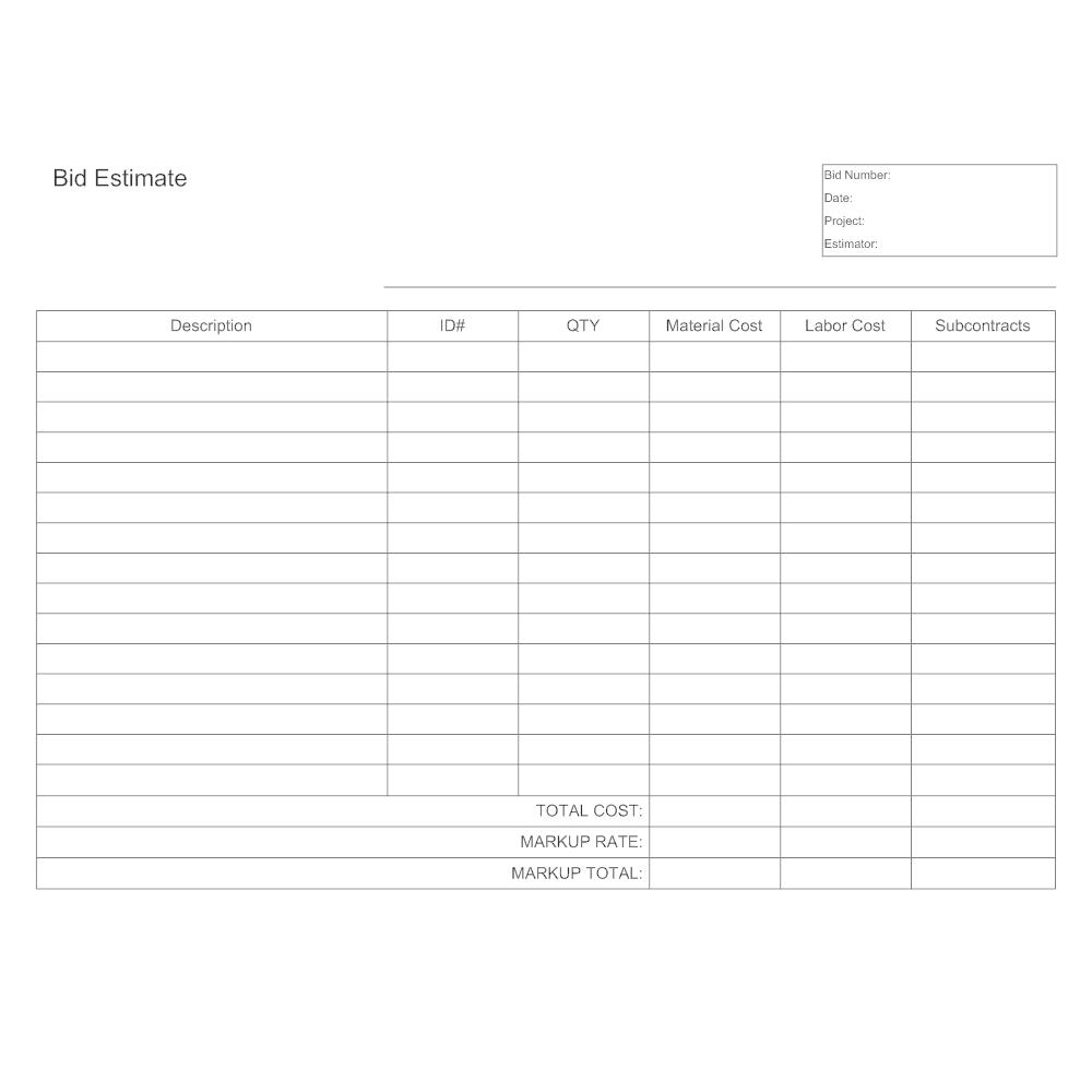 Bid Estimate Template - It estimate template