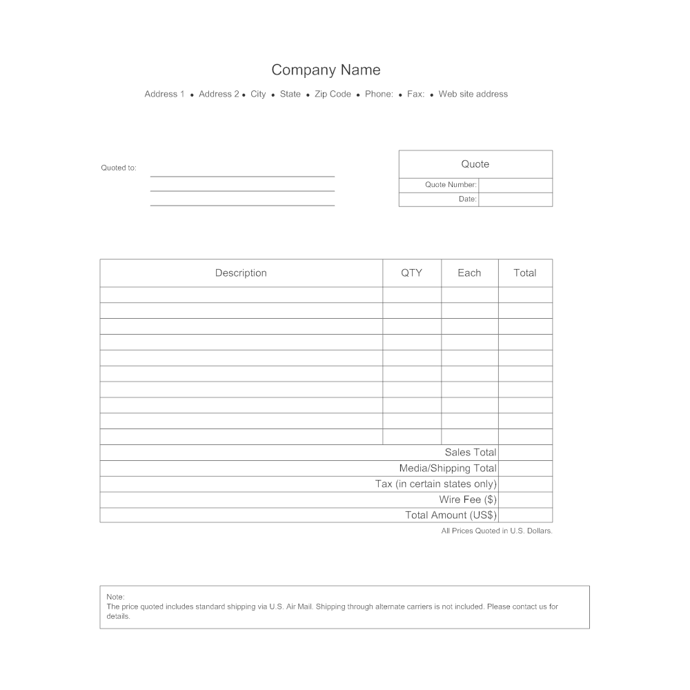 Shipping Quote Business Quote Form