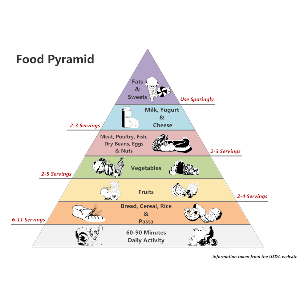 food pyramid essay Food pyramids are the perfect tool for depicting total diet at a glance done right –  with colorful, enticing images of real foods – food pyramids show examples of.