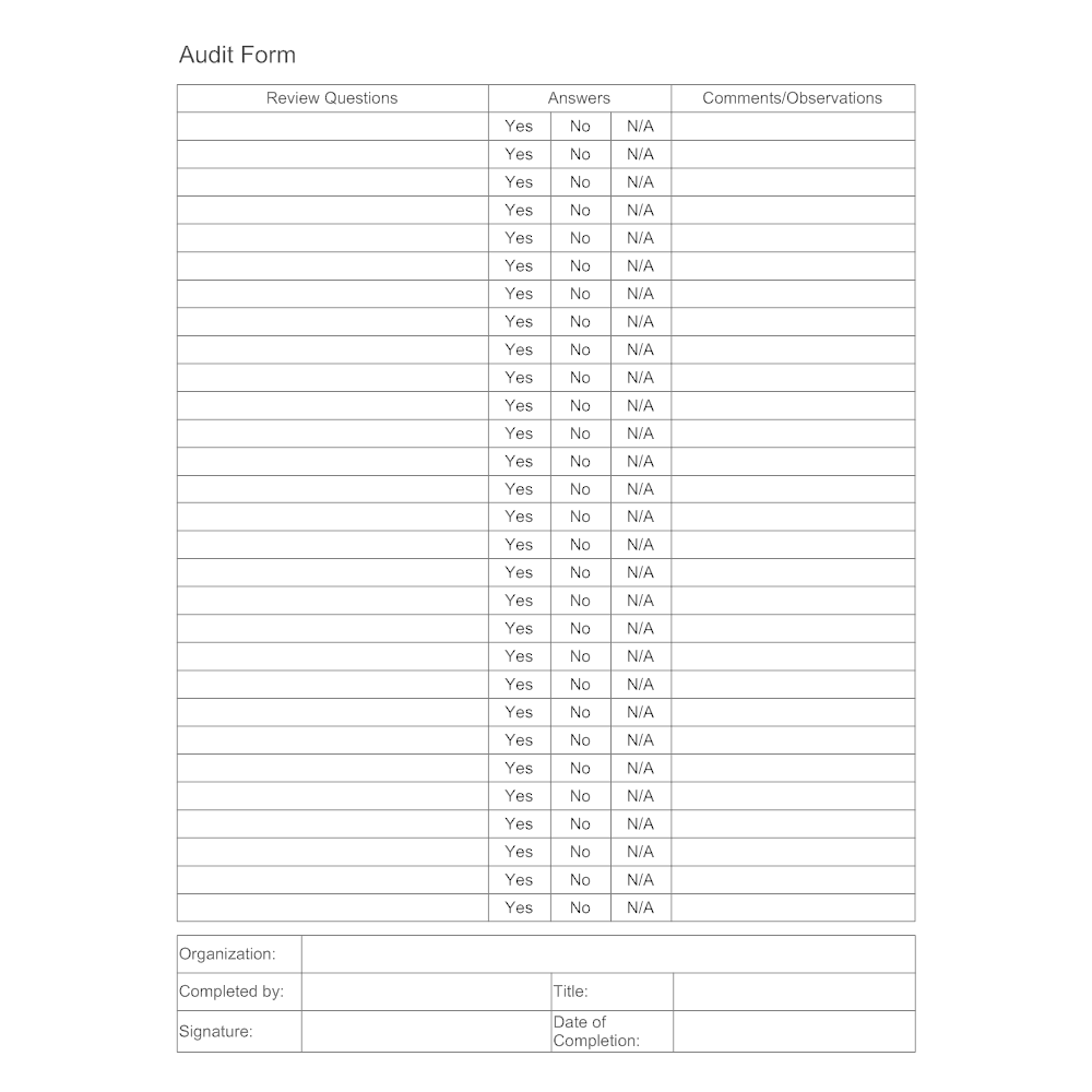 audit-form-template-2 Quality Audit Form Example on purpose statement, risk assessment, working paper, trail report, summary memo, for skill, cover letter,