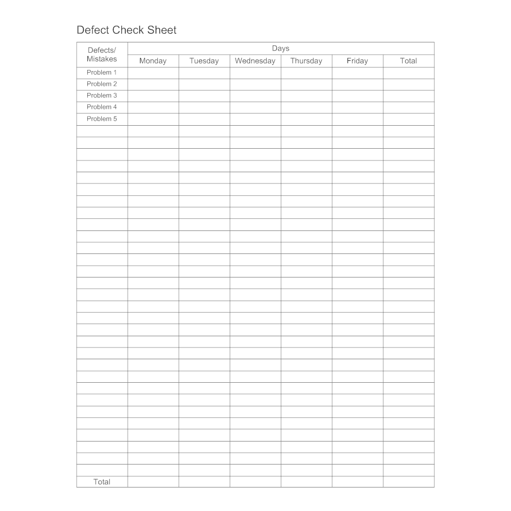 Example Image: Defect Check Sheet