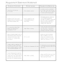 Requirement Statement Worksheet Example