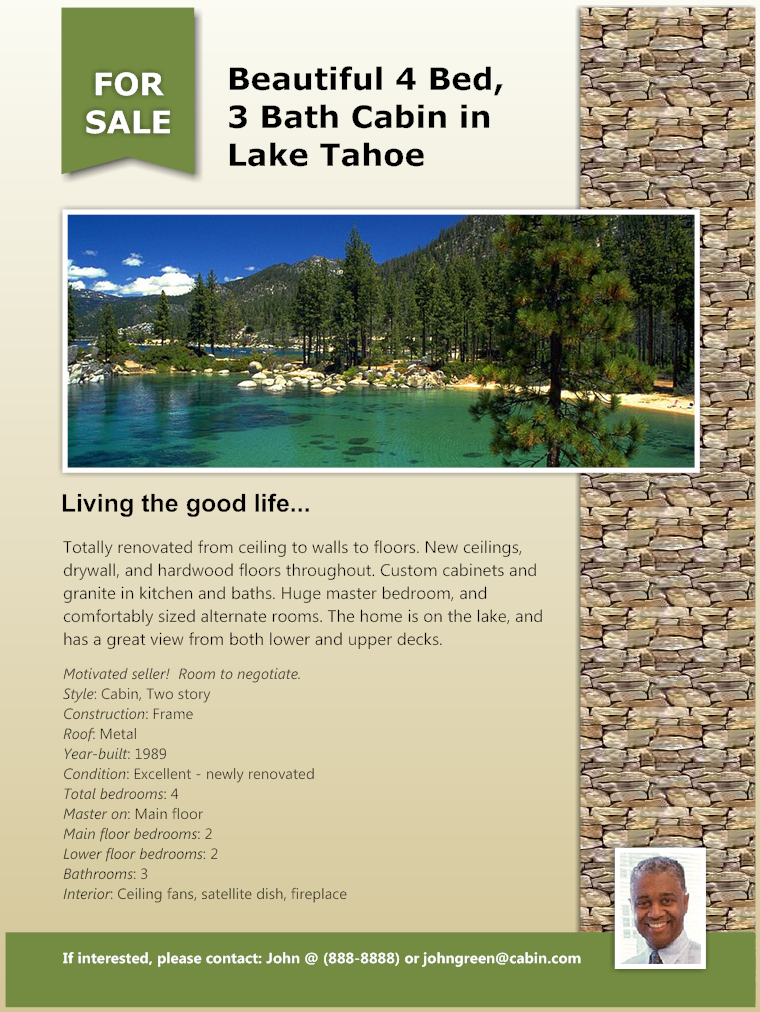 Real Estate Flyer   Lake Cabin  Home For Sale Brochure