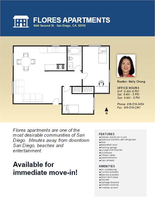 Real estate flyer easily create property floor plans for Real estate floor plans software