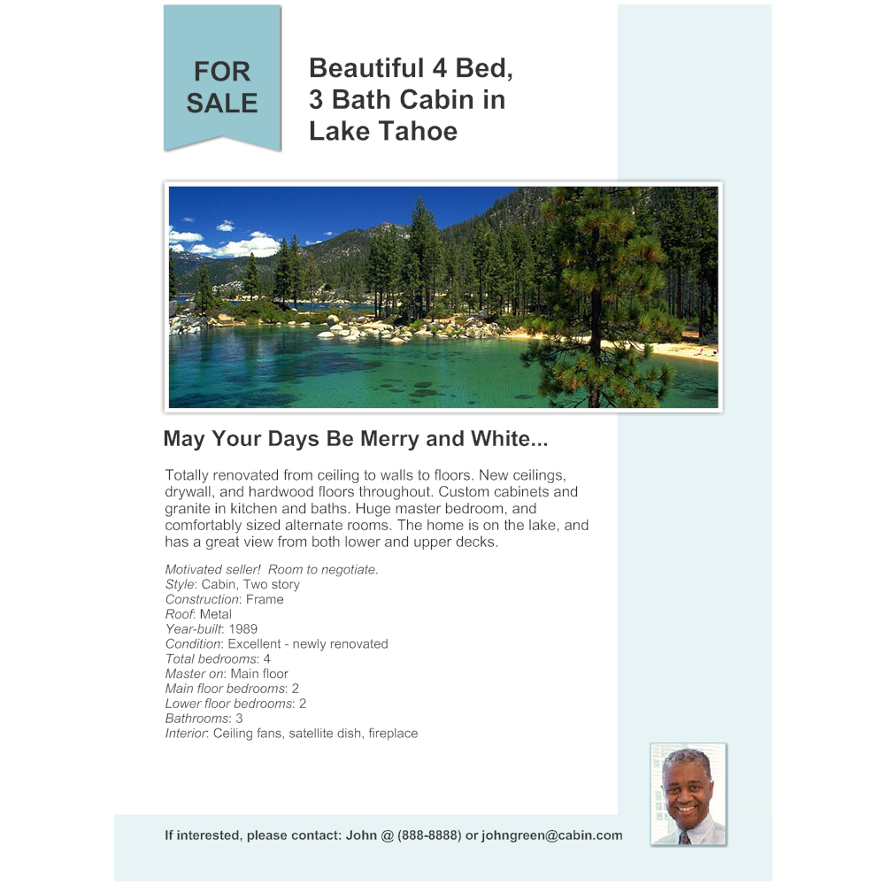Example Image: Cabin - Real Estate Flyer
