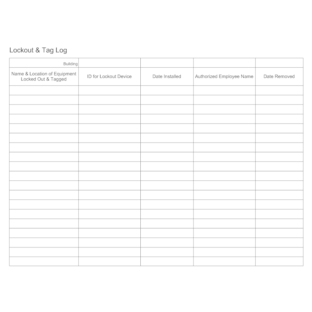 Example Image: Lockout & Tag Log